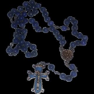 Vintage Lapis Stone Enameled Gold filled Rosary Catholic Crucifix Cross