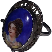 Vintage Old Art Deco Era Sterling Silver Rare Ring Lady Woman Handpainted Portrait Czech Porcelain China