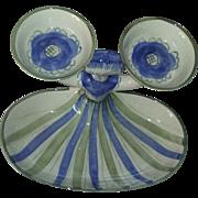 Vintage Rare Mid Century Modern Modernist Art Studio Pottery Bowl Hedi Schoop California Darner Doll