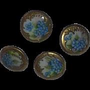 True Antique Victorian Steampunk Handpainted Collar Dress Buttons China Porcelain set
