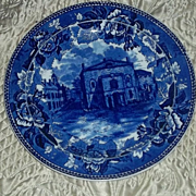 Antique Wedgwood Deep Flow Blue  Plate Old Boston Theatre Ca 1899