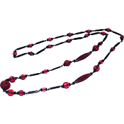 Vintage Rare Old Art Glass Beads Necklace Sautoir LONG French Czech Cranberry Flapper 20's