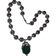 Vintage Murano Wedding Cake Glass Beads Necklace FABULOUS