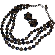 Vintage Art Deco Era 40's Rare German Czech Filigree Peacock Blue Purple Iridescent Glass Beads Necklace FABULOUS Earrings Set