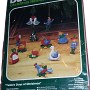 Vintage Bucilla Christmas Kit Felt Ornaments Ornament 12 days of Christmas Embroidery