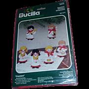 Vintage Bucilla Christmas Kit Felt Ornaments Ornament Carolers Music Embroidery Kit