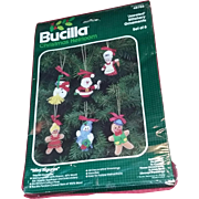 Vintage Bucilla Christmas Kit Felt Ornaments Ornament Santa Snowman Gingerbread Man Embroidery Tree