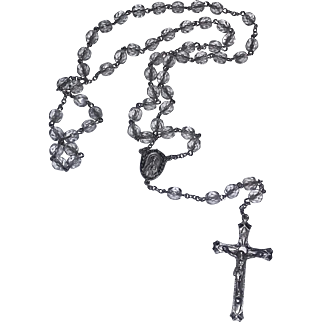 Vintage Sterling Silver Rosary Catholic Cross Swarovski Glass Beads Crystals