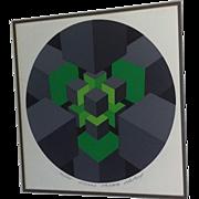 Vintage Iconic 80's Listed Artist Halsey print Op-art Space age Mod Mid Century Modern Modernist Green Halsey