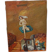 David Meshulam (1930-1987) Israel Artist Listed Nude Oil on Canvas Painting Surrealism