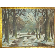 Original Oil Canvas European  Painting Landscape Trees Listed Artist Boye Givskov Danish