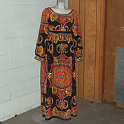 True Vintage Boho Mod Op Art India Madras Maxi Juliet Dress 1970's RARE