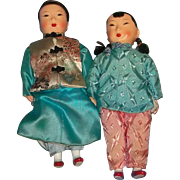 True Vintage OLD Chinese Doll Dolls Boy Girl Silk Composition Beautiful