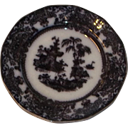 True Antique RARE Black Mulberry China Plate Pagoda Scene Estate Flow Blue