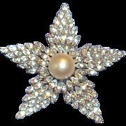 FAB True Vintage Marvella Designer Pave Rhinestone Faux Pearl Large STAR Pin