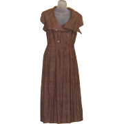 True Vintage Rare High End Paris Designer Couture Jacques Fath Fall Brown Silk Dress Early 50s