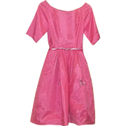 True Vintage PRETTY in PINK Dress Pinup Rockabilly 1950's Barbie Prom Estate
