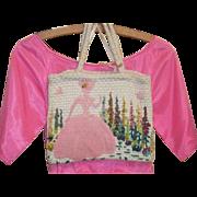 True  Vintage Shabby Crewel Work Purse Embroidered Woman RARE folk art