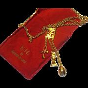Vintage Kenneth Lane KJL Egyptian Scarab Ankh LONG Gold Tone Sautoir Necklace
