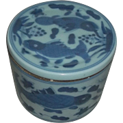 Blue White Antique China Chinese Fish Porcelain Covered Bowl Paste Box Estate