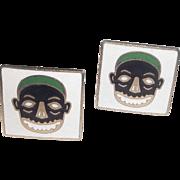 True Vintage RARE Swank Enameled Tiki Bar African Mask Face Cufflinks Mid Century Modern