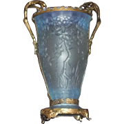 Art Nouveau or Judgendstil Bohemian Czech Iridescent  Ormolu Glass Vase Antique Secessionist