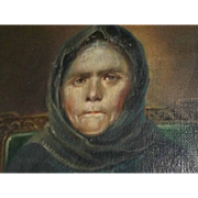 Antique AAFA Early 1800's Oil Painting on canvas Woman Matron Signed Folk Art Primitive