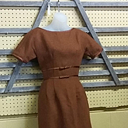 True vintage mid century modern design wool dress designer 60s Jonathan Logan wiggle