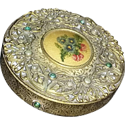 True vintage art nouveau petit point rhinestone Czech compact estate vanity scarce