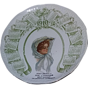 True Antique Advertising Vintage Victorian Gibson girl advertising calendar plate Louisville Kentucky estate RARE 1910 nouveau