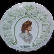 True Antique Vintage Victorian Gibson girl advertising calendar plate Louisville Kentucky estate RARE nouveau