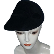 True vintage 40's asymmetrical black felt fur hat estate