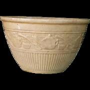 True Antique yellow ware bowl RARE tea kettle design primitive estate