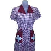 True vintage 40's 50's red check rockabilly Dress