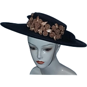 True Vintage Paris Couture Edwardian Hat Chapeau estate black straw racial FABULOUS