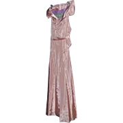 Tru Vintage Late 20's Early 30's French Peach Silk Deco GLAMOUR long dress gown rare estate