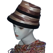 Tru Vintage OVER THE TOP  Fall Colors Ribbon Cloche Turban Hat collector's estate