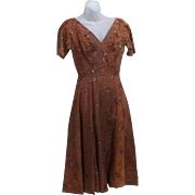 True Vintage 50's Rockabilly Dress Gown  FABULOUS COPPER Color Pin Up Pinup