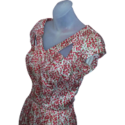 Tru Vintage 50's Rockabilly Summer Cotton Silk Bombshell Flowers Dress FAB