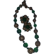 True Vintage Signed Lisner Christmas Green Necklace Earrings Set Demi Parure Crystals Glass Filigree FAB