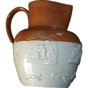 True Antique Stoneware Pitcher Dogs Windmill Mythology Whiskey Barrels Relief