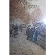 Scarce Antique Etching Coloured Listed Artist Paris Street Scene Book Sellers Signed Victor Valery