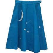 Vintage 50's scarce Blue Felt Rockabilly Skirt Moon Stars estate