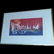 Listed Israeli Artist Ebgi Mid Century Modern Modernist Boats signed numbered Scarce Lithograph Print
