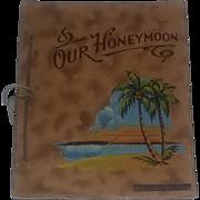 Vintage 40's Old Book Leather Florida Souvenir Rare Honeymoon Painted Folk Art