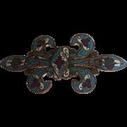 Antique Victorian Steampunk Art Nouveau RARE Gorgeous Belt Dress Buckle French Enameled Fleur de lis Sash