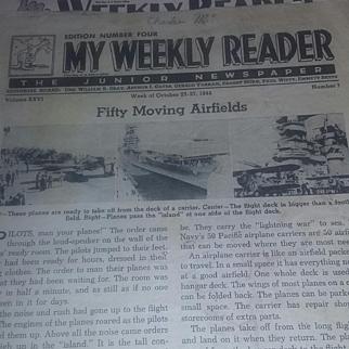 Antique Vintage RARE World War Two Era School Weekly Reader Newspapers 40's
