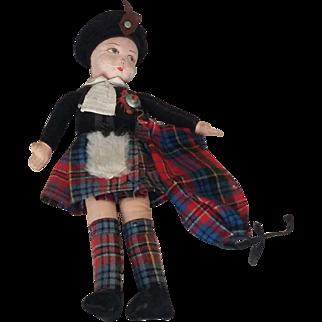 Old Vintage Folk Art Ethnic Scottish Cloth Doll Wellings British