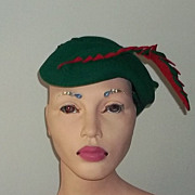 Vintage 40's Forties Art Deco Era Red Green Felt Hat Wonderful Unusual Collector's Estate