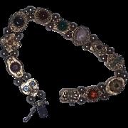 Vintage 14 kt Solid Yellow Gold Charm Slide Bracelet Pearls Cameo Gemstones  11 charm slides beads Valentine's day